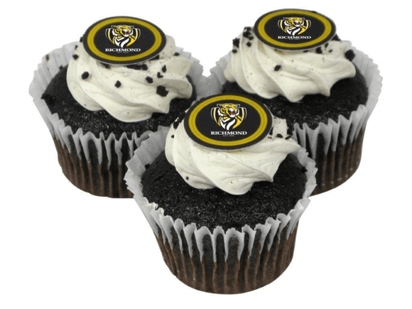 Footy Plus More CAKE DECORATIONS Richmond Tigers Edible Cup Cake Icing Image