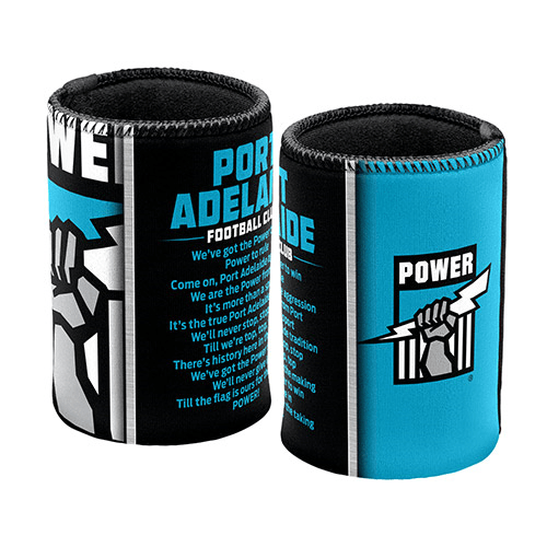 Footy Plus More Can Cooler Port Adelaide Power Team Song Can cooler Stubby Holder