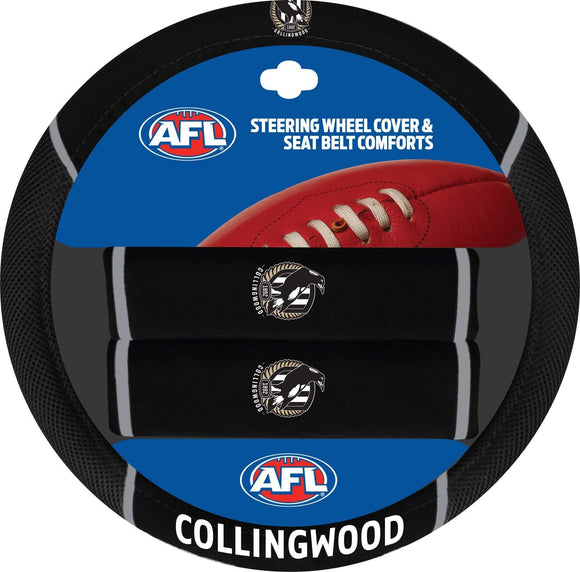 Footy Plus More car accessories Collingwood Magpies Steering Wheel Cover And Seatbelt Comforts