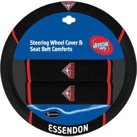 Footy Plus More car accessories Essendon Bombers Steering Wheel Cover and Seatbelt Comforts