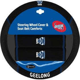 Footy Plus More car accessories Geelong Cats Steering Wheel Cover and Seatbelt Comforts