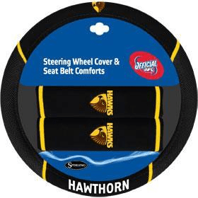 Footy Plus More car accessories Hawthorn Hawks Steering Wheel Cover and Seatbelt Comforts