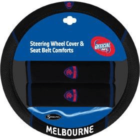 Footy Plus More car accessories Melbourne Demons Steering Wheel Cover and Seatbelt Comforts
