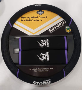 Footy Plus More car accessories Melbourne Storm Steering Wheel Cover and Seatbelt Comforts