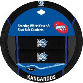 Footy Plus More car accessories North Melbourne Kangaroos Steering Wheel Cover and Seatbelt Comforts