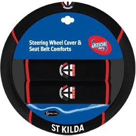 Footy Plus More car accessories St Kilda Saints Steering Wheel Cover and Seatbelt Comforts