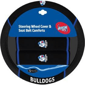 Footy Plus More car accessories Western Bulldogs Steering Wheel Cover and SeatbeltComforts