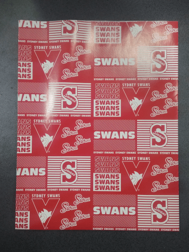 Footy Plus More cards and wrap Sydney Swans Wrapping Paper