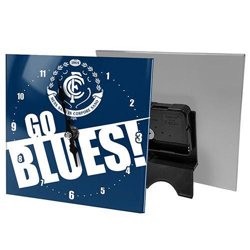 Footy Plus More CLOCK Carlton Blues Mini Glass Clock