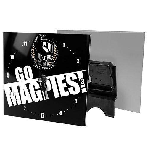 Footy Plus More CLOCK Collingwood Magpies Mini Glass Clock