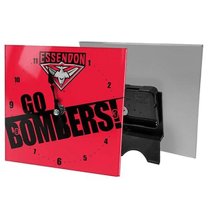 Footy Plus More CLOCK Essendon Bombers Mini Glass Clock