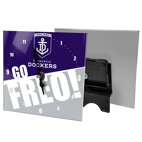 Footy Plus More CLOCK Fremantle Dockers Mini Glass Clocks
