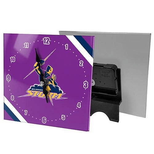 Footy Plus More CLOCK Melbourne Storm Mini Glass Clock