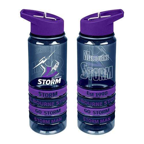 Footy Plus More DRINK BOTTLES Melbourne Storm Tritan Drink Bottle with Wristbands