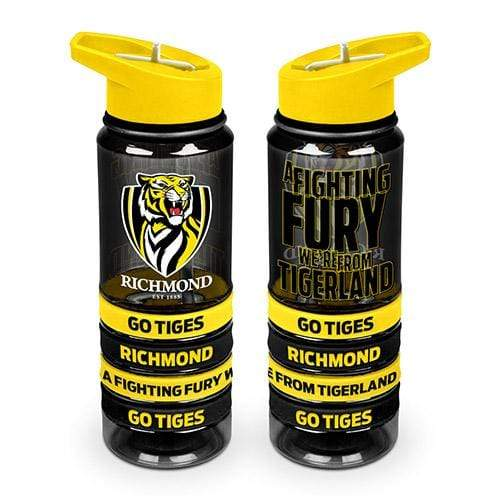 Footy Plus More DRINK BOTTLES Richmond Tigers Tritan Drink Bottle with Wristbands