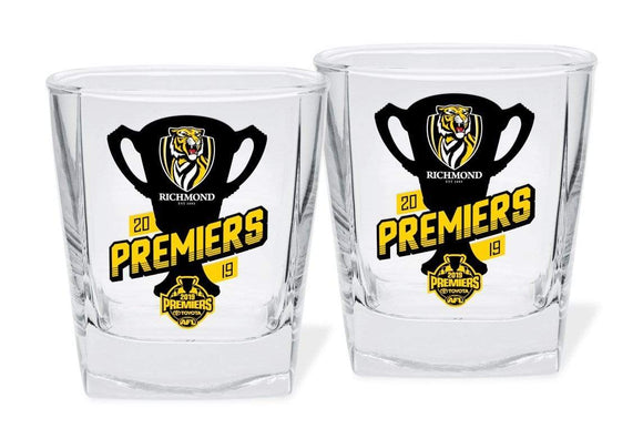 Footy Plus More drinkware Richmond Tigers Spirit Glasses Twin Pack Premiers 2019