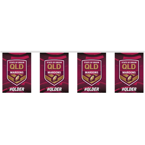 Footy Plus More Flag Queensland Maroons Bunting 15 Piece
