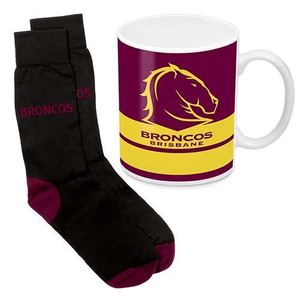 Footy Plus More Gift Pack Brisbane Broncos Mug and Sock Gift Pack