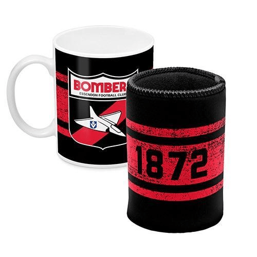 Footy Plus More Gift Pack Essendon Bombers Mug and Can Cooler Retro Logo