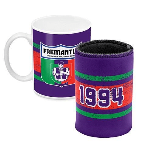Footy Plus More Gift Pack Fremantle Dockers Mug and Can Cooler Retro Logo