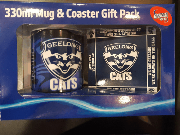 Footy Plus More Gift Pack Geelong Cats Logo Mug and Coaster Gift Pack
