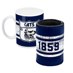 Footy Plus More Gift Pack Geelong Cats Mug and Can Cooler Retro Logo