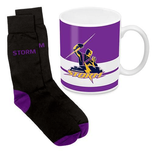 Footy Plus More Gift Pack Melbourne Storm Mug And Sock Gift Pack