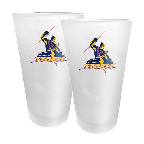Footy Plus More Gift Pack Melbourne Storm Set Of 2 Concial Glasses