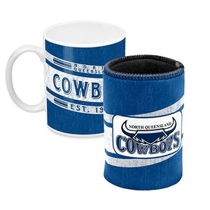 Footy Plus More Gift Pack North Queensland Cowboys Mug And Can Cooler Retro Logo