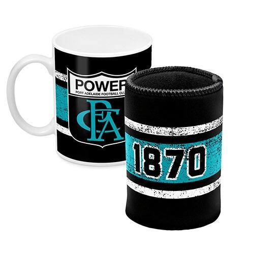Footy Plus More Gift Pack Port Adelaide Power Mug and Can Cooler Retro Logo