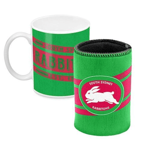 Footy Plus More Gift Pack South Sydney Rabbitohs Mug And can Cooler RetroLogo