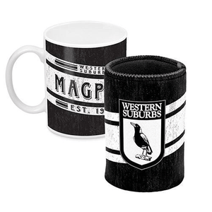 Footy Plus More Gift Pack Western Suburbs Mug And Can Cooler Retro Logo