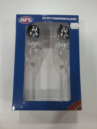 Footy Plus More Glassware Collingwood Magpies Set of 2 Champagne Glasses