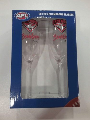 Footy Plus More Glassware Essendon Bombers Set of 2 Champagne Glasses