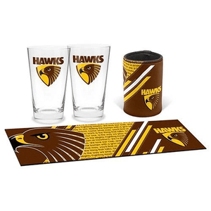 Footy Plus More Glassware Gift Pack Hawthorn Hawks Bar Essentials Gift Pack