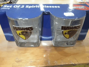Footy Plus More Glassware Hawthorn Hawks Metal Badge Set Of 2 Spirit Glasses