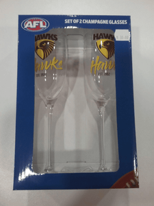Footy Plus More Glassware Hawthorn Hawks Set of 2 Champagne Glasses