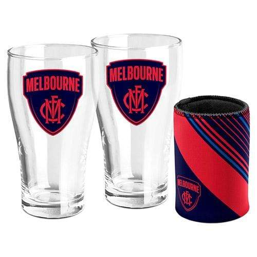 Footy Plus More Glassware Melbourne Demons Set of 2 Pint Glasses and Can Cooler