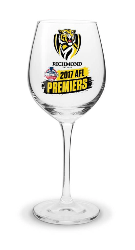 Richmond Tigers Premiers 2017 Wine Glass Footy Plus More