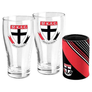 Footy Plus More Glassware St Kilda Saints Set of 2 Pint Glasses and Can Cooler