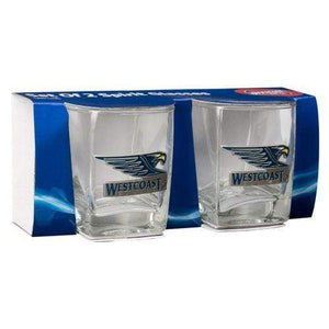 Footy Plus More Glassware West Coast Eagles Metal Badge Set Of 2 Spirit Glasses