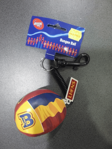 Footy Plus More Keyrings Brisbane Lions Bungee Ball Keyring Clip Name Tag