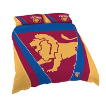 Footy Plus More MANCHESTER Brisbane Lions Double Bed Quilt Cover