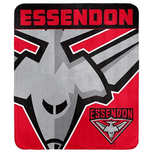 Footy Plus More MANCHESTER Essendon Bombers Fleece Throw Rug