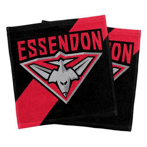 Footy Plus More MANCHESTER Essendon Bombers Set Of 2 face Washers