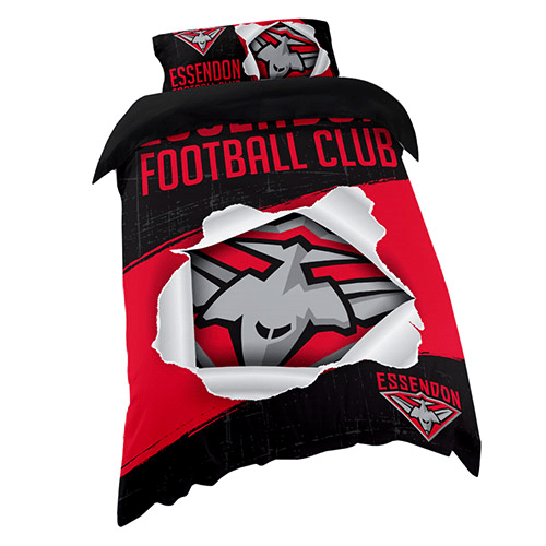 Footy Plus More MANCHESTER Essendon Bombers Single Bed Quilt Cover