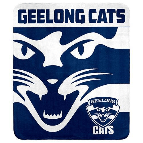 Footy Plus More MANCHESTER Geelong Cats Fleece Throw Rug