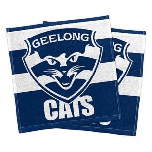 Footy Plus More MANCHESTER Geelong Cats Set Of 2 Face Washers