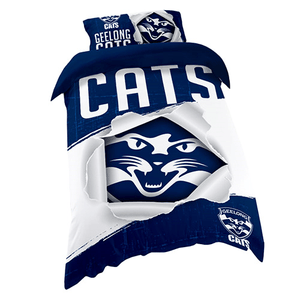 Footy Plus More MANCHESTER Geelong Cats Single Bed Quilt Cover