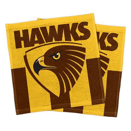 Footy Plus More MANCHESTER Hawthorn Hawks Set Of 2 Face Washers